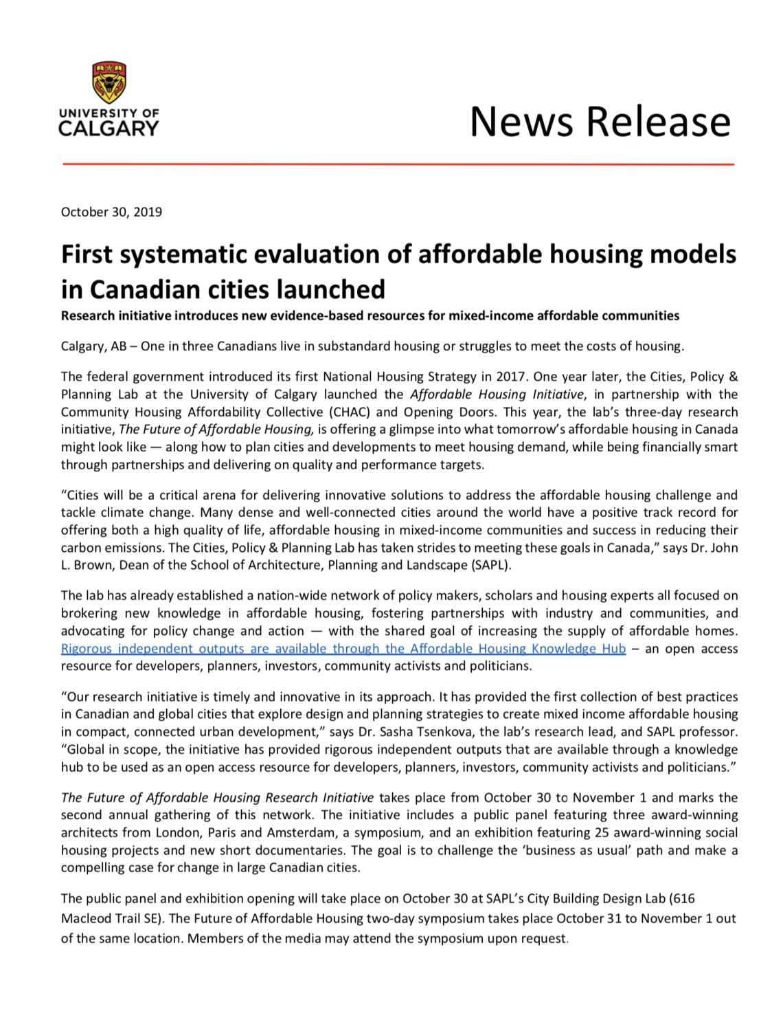 NR-First systematic evaluation of affordable housing models in Canadian cities launched
