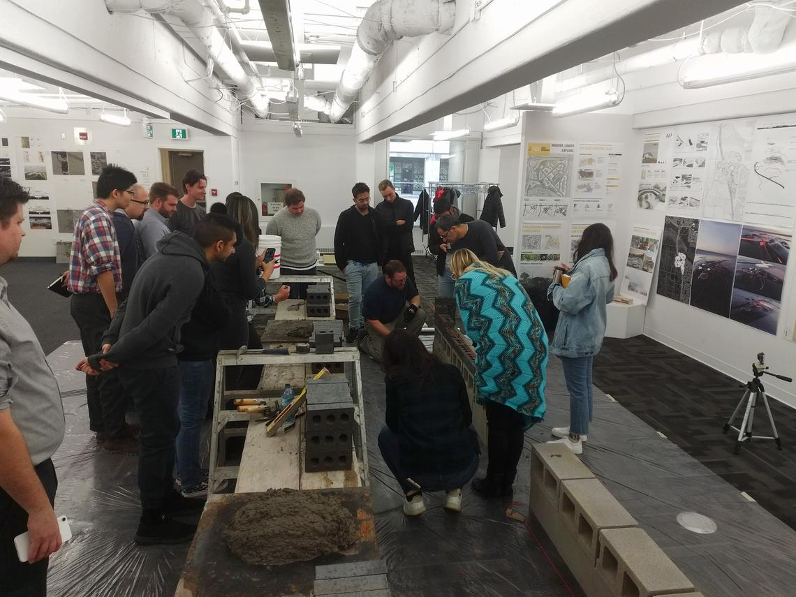 Senior architecture studio learns about bricklaying with local masons as part of a research project funded by the Alberta Masonry Council.
