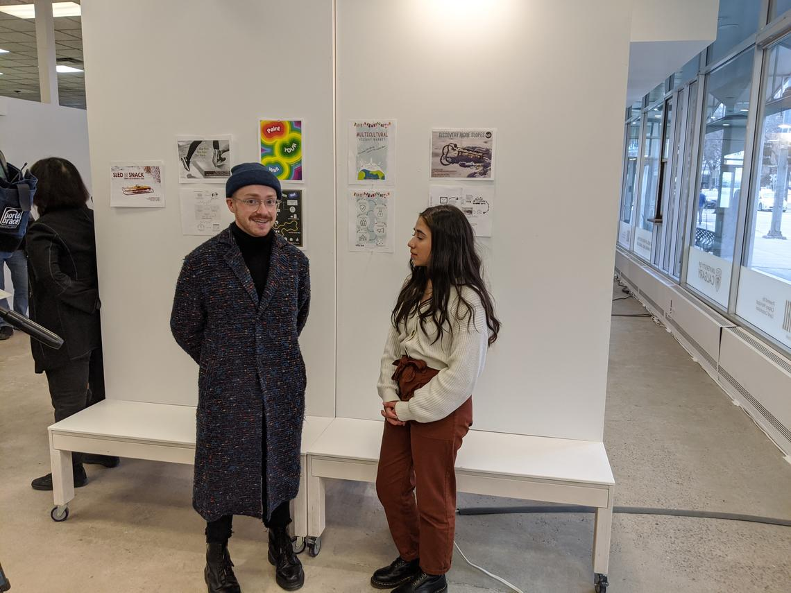Undergrads Gregory Campbell and Angelica Becerra at the 9 Block media launch in SAPL's City Building Design Lab.
