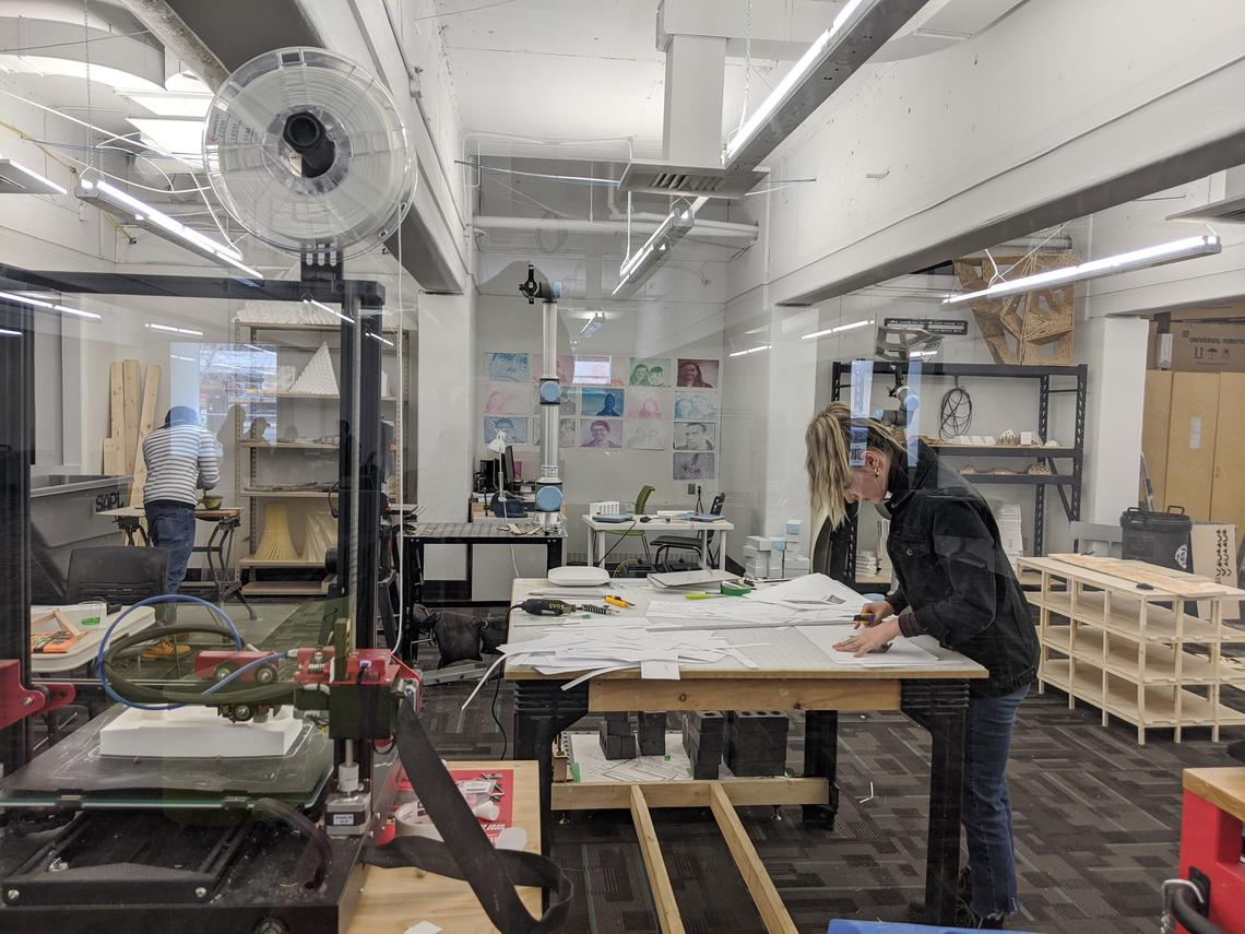 March 2020 - Students working in the Digital Fabrication Lab, City Building Design Lab